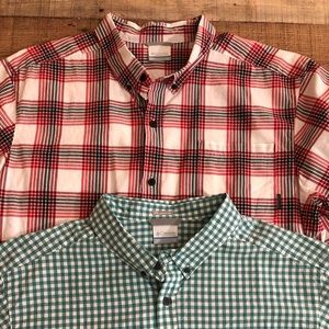 (2) Columbia Button Down Shirts Size XL S/S Plaid